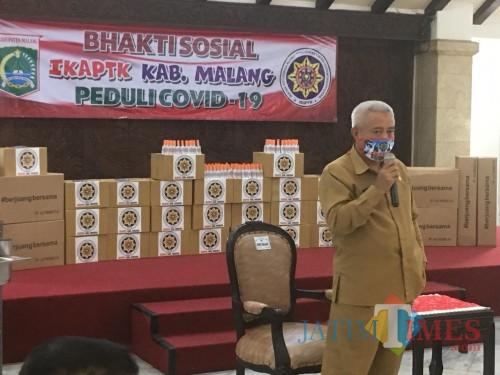 Bupati Malang HM Sanusi saat menjelaskan upaya pengajuan penerapan PSBB di wilayah Kabupaten Malang (Foto : Ashaq Lupito / MalangTIMES)
