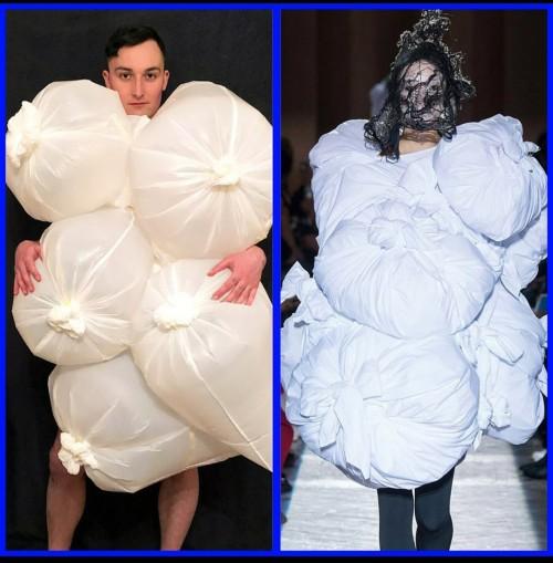 Kreatifitas Netizen buat gaun bola pakai kantong plastik. (Foto: instagram @skipdin).