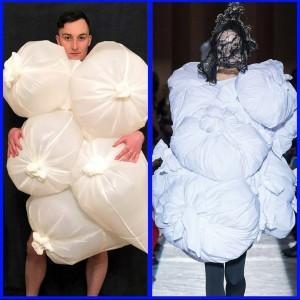 Kreatif, Di Rumah Aja Netizen Ikut Tren #HomeCouture Fashion Pakai Plastik Hingga Bantal