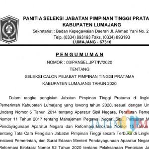 Pemkab Lumajang Buka Seleksi Untuk 5 Pejabat Pimpinan Tinggi Pratama