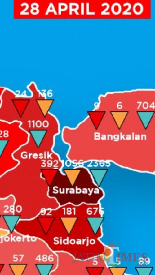Peta kasus Covid-19 di Surabaya Raya