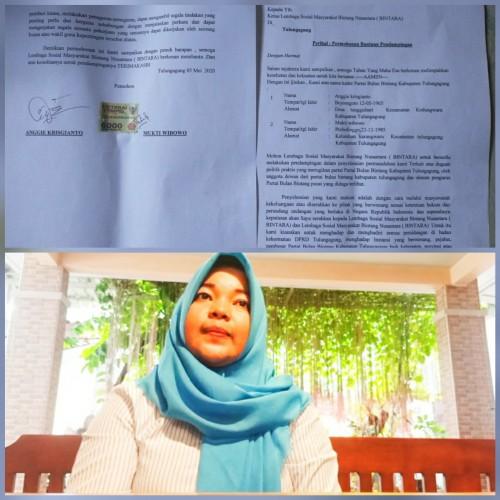 Surat aduan ke Bintara (atas), anggota DPRD partai PBB, Riska Nurvitasari (bawah) / Foto : Istimewa / Tulungagung TIMES