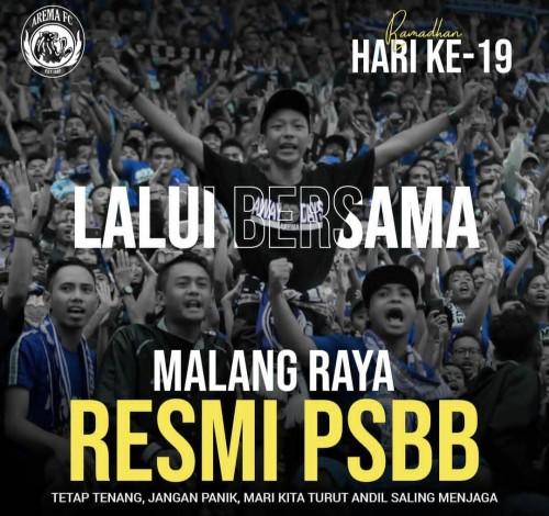 Postingan Arema FC tentang PSBB yang berlaku di Malang Raya (Arema FC official)