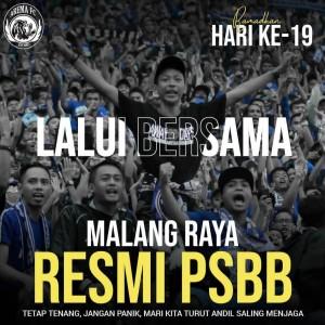 PSBB Ditetapkan Untuk Malang Raya, Ini Imbauan Arema