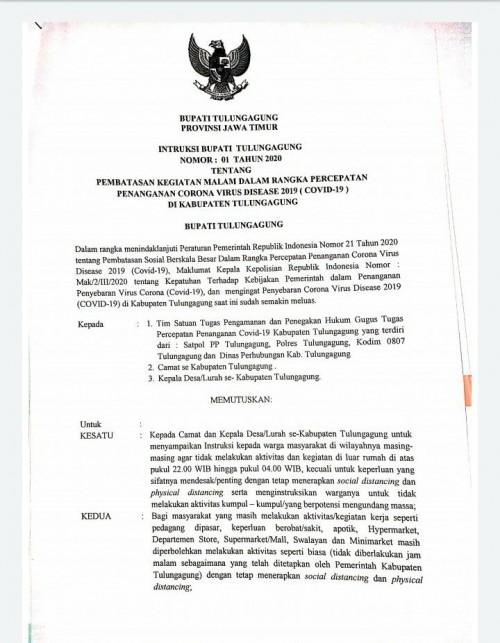Surat Instruksi Bupati tentang pemberlakuan jam malam (ist)