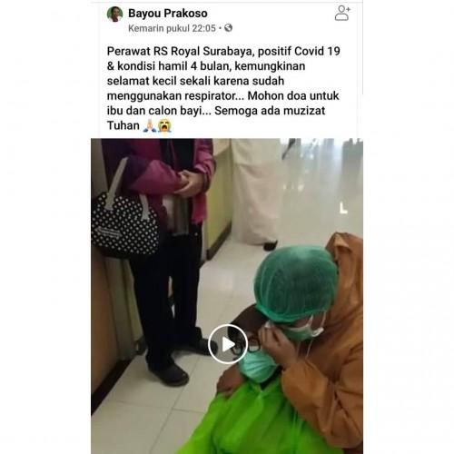 Perawat Hamil 4 bulan di RS Surabaya positif covid-19 (Foto: Ig ndorobeii)
