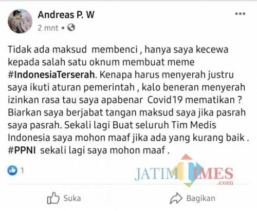 Screenshoot postingan dari akun bernama Andreas P. W yang beredar di berbagai Facebook dan Whatsapp. (foto : istimewa / Jatim TIMES)