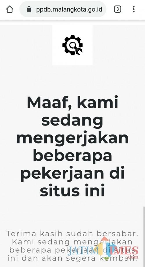 Laman PPDB Kota Malang masih dalam perbaikan. (Foto: screenshot MalangTIMES)
