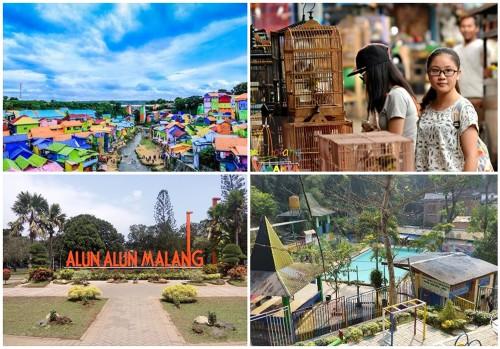 Kampung Warna-Warni Malang (Hipwee) . Pasar Burung Splendid (Malang Vaganza) . Alun-Alun Merdeka (Kekunaan) . Taman Rekreasi Kota Malang (Tripadvisor)