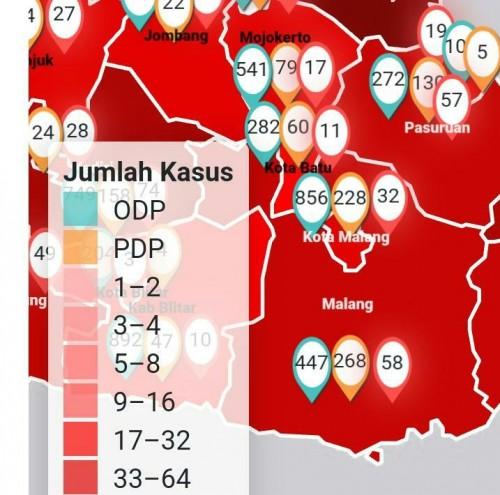 Peta penyebaran Covid-19 di kota Batu.(Foto: Screenshot info Covid Jawa Timur)