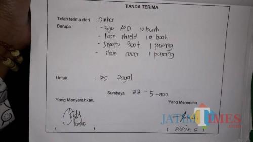 Surat serah terima bantuan dari Pemkot Surabaya ke RS Royal Surabaya yang beredar di media sosial