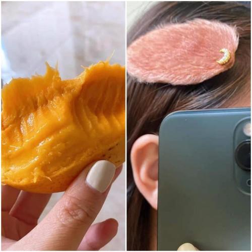 Tampilan jepit rambut dari bahan biji buah mangga. (Foto: twitter @iwosiiw).