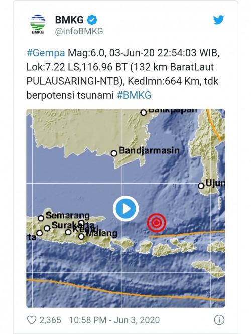 NTB Dilanda Gempa 6,0 Skala Richter, Twitter Trending #gempa