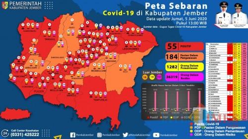 Update Peta sebaran Pasien Covid-19 di Jember (foto : istimewa / Jatim TIMES)
