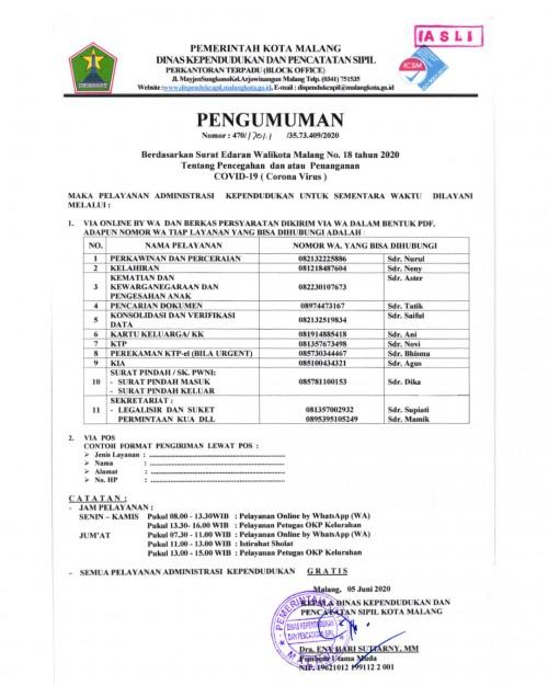 Nomor WhatsApp resmi pelayanan Dispendukcapil Kota Malang (Dispendukcapil Kota Malang)