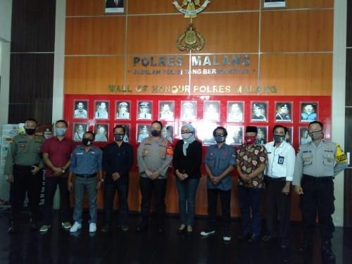 Rombongan KPU Kabupaten Malang usai berkoordinasi dengan Kapolres Malang terkait kesiapan Pilkada 2020 (Foto : Istimewa)