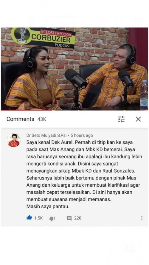 Capture gambar saat Kak Seto menuliskan komentar pada video klarifikasi KD dan Raul Lemos di channel Deddy Corbuzier (Ist)