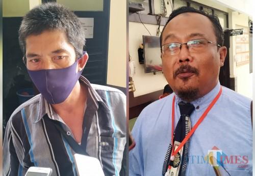 Sarkam adik Sarto dan Heri Widodo pengacara Gaguk / Foto : Anang Basso / Tulungagung TIMES