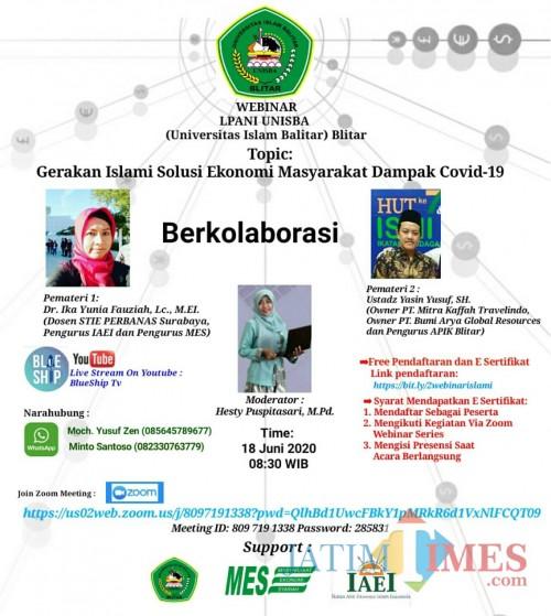 "Webinar dengan tema ""Gerakan Islami Solusi Ekonomi Masyarakat Dampak Covid-19"" sukses digelar Unisba Blitar"