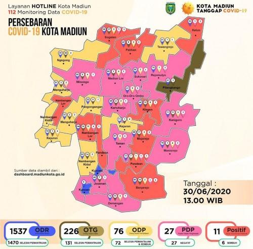Update peta persebaran covid-19 di Kota Madiun, Selasa (30/06/2020). (Foto:@pemkotmadiun)