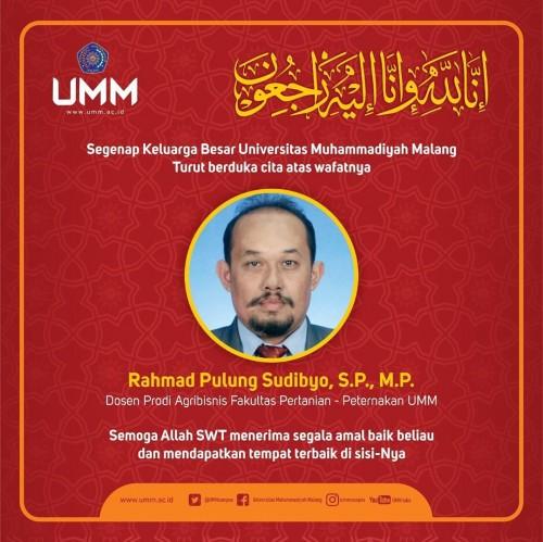 Kabar duka Dosen Prodi Agribisnis Fakultas Pertanian dan Peternakan UMM Rahmad Pulung Sudibyo SP MP. (Foto: Instagram ummcampus)