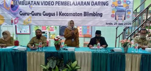 Workshop Kegiatan Belajar Mengajar Berbasis WhatsApp dan Video Pembelajaran di SDN Blimbing 1 Malang. (Foto: istimewa)