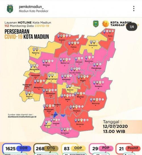 Peta persebaran pasien Covid -19 di Kota Madiun