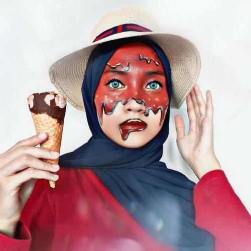 Makeup karakter ice cream. (Foto: instagram @wildauliarosa).