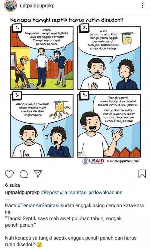 Pesan imbauan terkait septitank diakun Instagram UPT PAL (Ist)