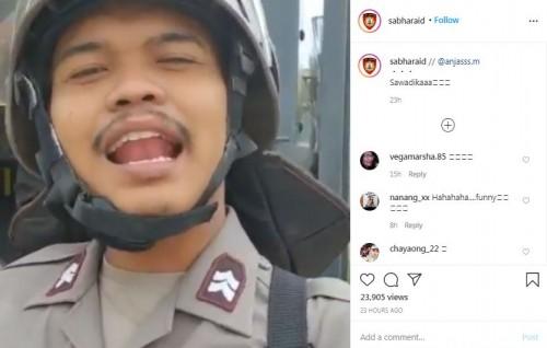Polisi bicara pakai bahasa Thailand (Foto: IG sabharaid)