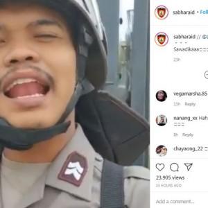 Viral Aksi Polisi Berbicara Pakai Bahasa Thailand, Warganet Auto Ngakak