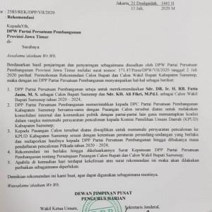 Beredar Surat Rekom PPP untuk Fattah Jasin-Ali Fikri di Pilkada Sumenep