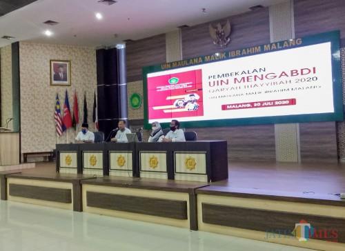 Pembekalan UIN Mengabdi Qaryah Thayyibah Tahun 2020 di rektorat lantai 5, Senin (20/7/2020). (Foto: Ima/MalangTIMES)