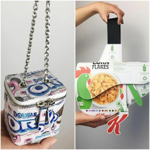 Bungkus makanan diolah menjadi tas daur ulang yang mirip brand mode ternama. (Foto: instagram @camera60studio).