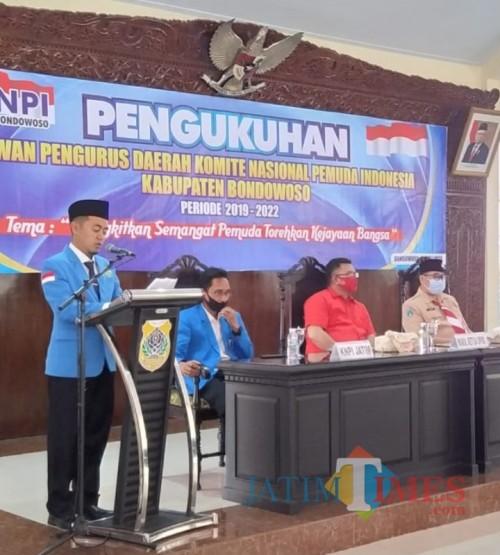 Foto muhlis/jatimtimes/pelantikan KNPI kabupaten bondowoso