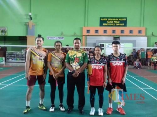 Pasangan ganda campuran Kota Malang (kiri) di ajang Porprov VI 2019 lalu (PBSI Kota Malang for MalangTIMES)