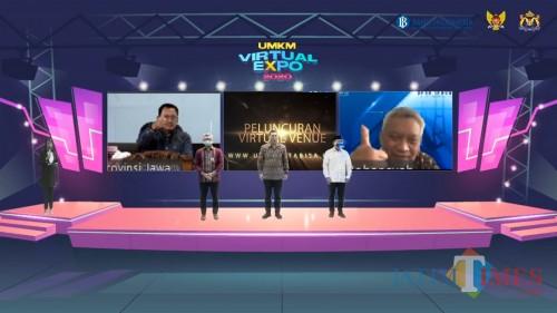 Suasana saat launching UMKM Virtual Expo 2020 oleh BI Kediri, Kadin, dan Pemkot Kediri. (Bambang Setioko/JatimTIMES)