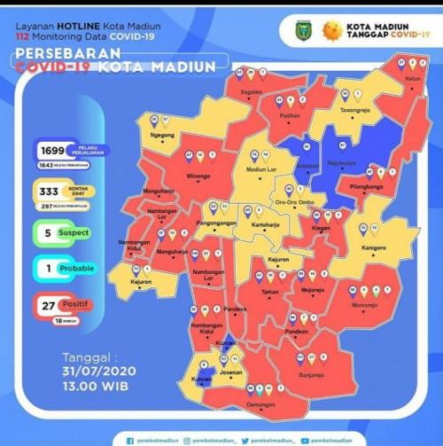 Peta Pesebaran covid 19 di Kota Madiun