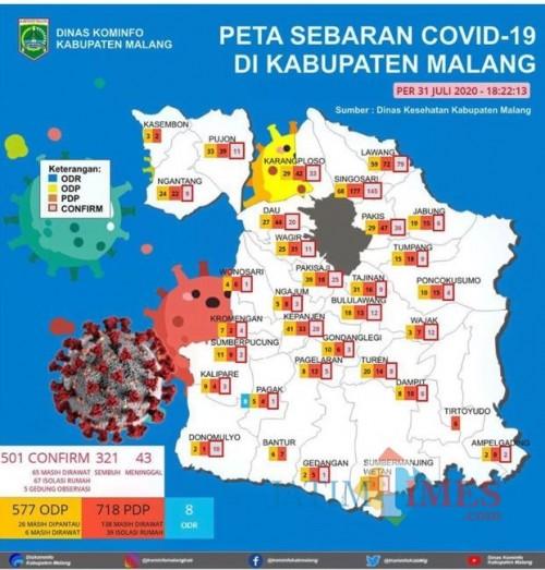 Peta sebaran kasus covid-19 di Kabupaten Malang (Foto: Istimewa)