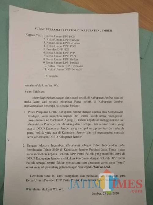 Surat yang ditujukan ke 11 DPP Partai Politik oleh 11 pengurus partai di Jember