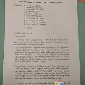 Paranoid Elektabilitas Petahana, Partai di Jember Surati DPP Ajukan 1 Calon?