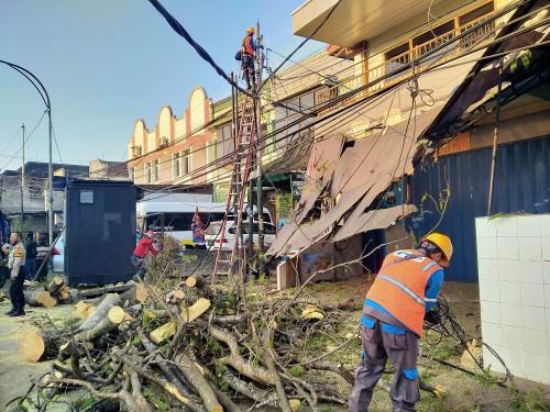 Petugas PLN yang tengah melakukan perbaikan kabel listrik karena tumbangnya pohon di jalan BS Riadi (Anggara Sudiongko/MalangTIMES)