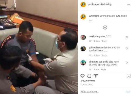 Video Kocak Ini Viral, Perlihatkan Sosok Polisi Gagah Teriak Ketakutan Sama Jarum Suntik