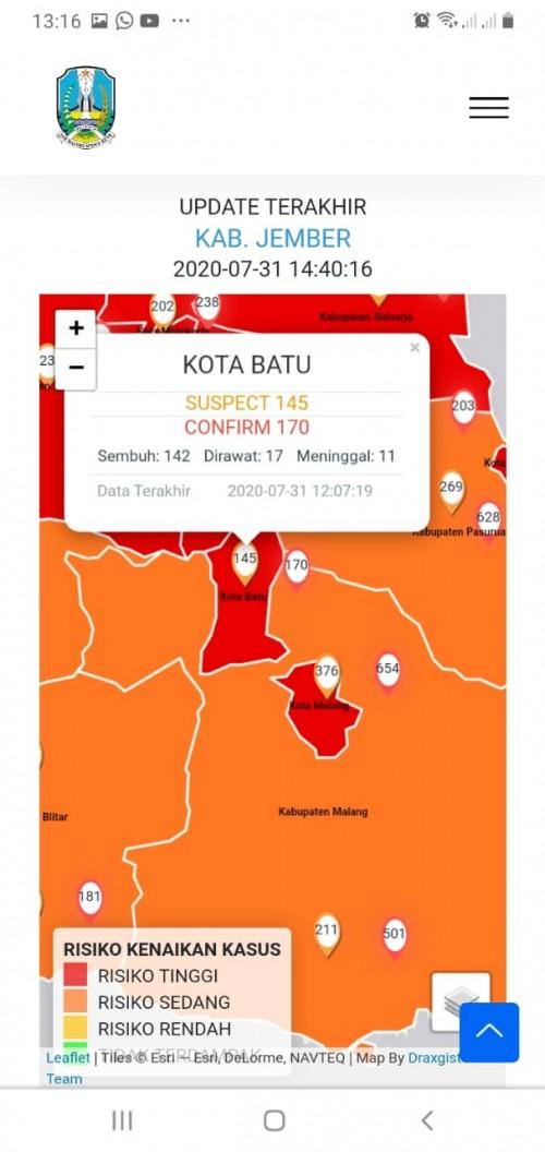 Screenshot zona merah Kota Batu. (Foto: infocovid19.jatimprov.go.id)