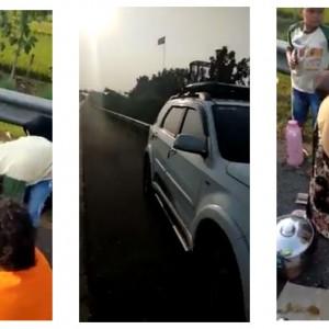 Diusir Polisi, Satu Keluarga Asyik Makan Lesehan Layaknya Piknik di Jalan Tol