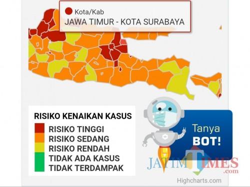 Status Surabaya Zona Merah dari Website Covid19.go.id