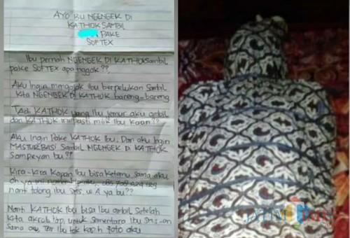 Surat Maling Yang Diduga Fetitsme (kiri) , Aksi Gilang Yang Viral dengan Bungkus Jarik (kanan) / Foto : Istimewa / Tulungagung TIMES