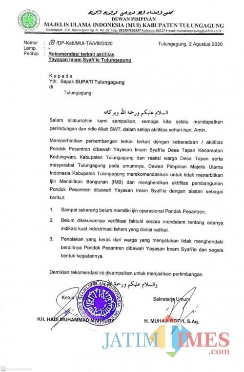 Sikapi Polemik Yayasan Imam Syafi'i, MUI Tulungagung Terbitkan Rekomendasi, Ini Isinya..