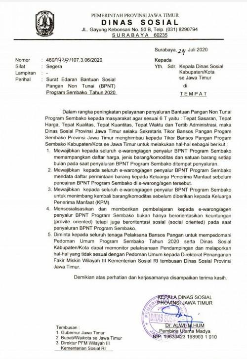 Dinsos Pemprov Jatim Keluarkan Surat Edaran, KPM Bebas Memilih Komoditas BPNT