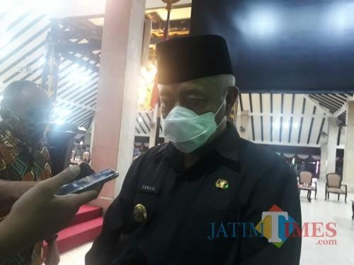 Bupati Malang, HM Sanusi saat memberikan pernyataan perihal video-nya yang viral di media sosial (Foto: Dokumen MalangTIMES)